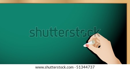 Vector Blank Chalkboard And a Female Hand Holding Chalk - stock vector