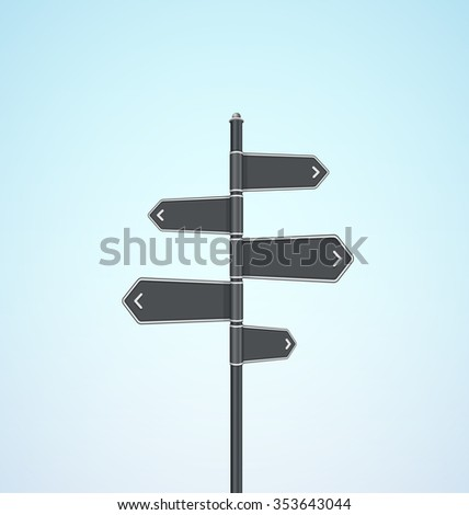 Vector Blank Direction Signpost Sign Arrow Icon - stock vector