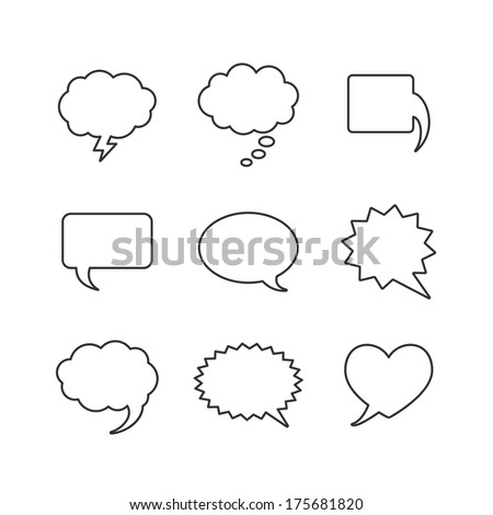 Vector Blank empty white speech bubbles shapes - stock vector
