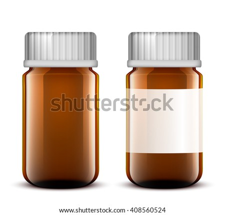 Vector Blank Glass Medical Bottle. Isolated on White Background