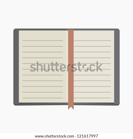 vector blank lined notebook with red ribbon