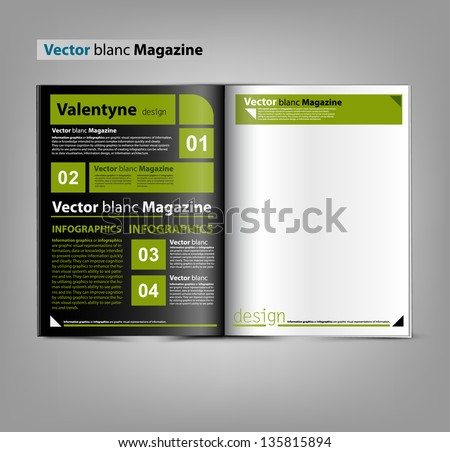 Vector blank magazine spread on gray background. - stock vector
