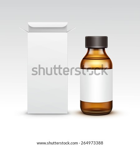 Vector Blank Medicine Medical Glass Bottle With Liquid Fluid Packaging Package Box Label Isolated on White Background - stock vector