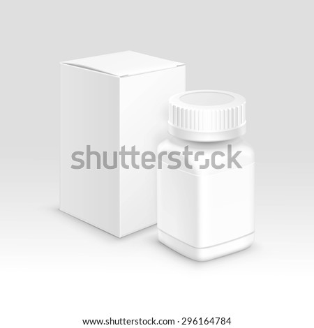 Vector Blank Medicine Medical Packaging Package Paper Box and Plastic Bottle with Cap for Pills and Label Isolated on Background - stock vector