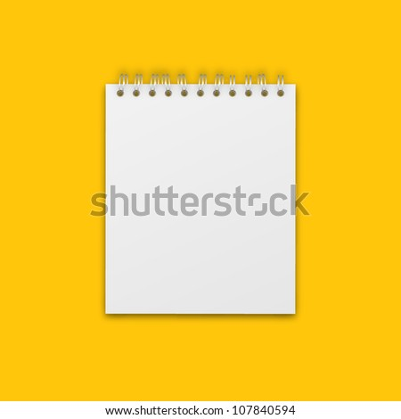 Vector Blank Notebook Isolated on Yellow - stock vector