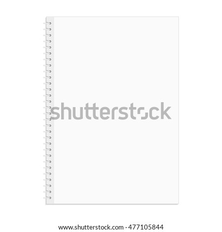 Vector blank notebook. Office supplies note pad with spiral bound. Corporative identity element.