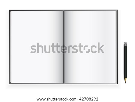 vector blank open book pages with pencil