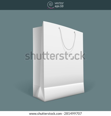vector blank paper bag with rope handles on dark background
