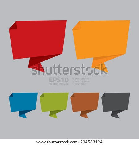 Vector : Blank Paper Origami Speech Bubble or Speech Balloon Sticker, Label, Sign or Icon - stock vector