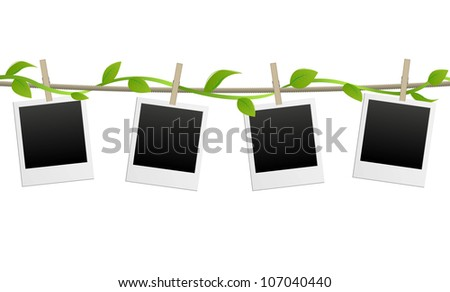 vector blank photo frames with green plant - stock vector