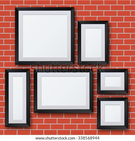Vector blank picture frame set on brick wall. Template background - stock vector