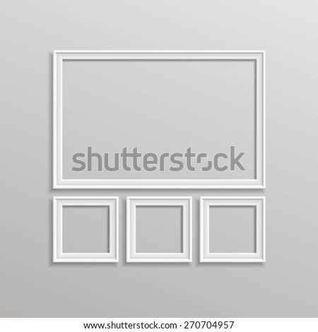 Vector Blank Picture Frame Template Composition Set Isolated on Wall Background