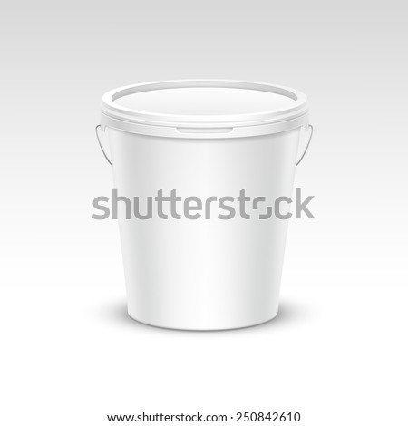 Vector Blank Plastic Bucket Container Packaging Isolated on White Background - stock vector