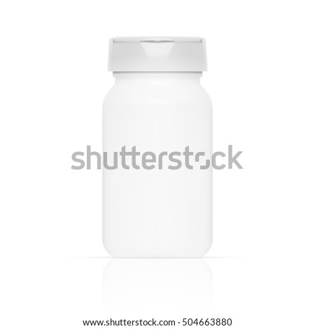 Vector Blank Plastic Packaging Bottle with Cap for Pills Isolated on White Background. EPS10 Vector