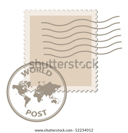 vector blank post stamp with world map postmark - stock vector