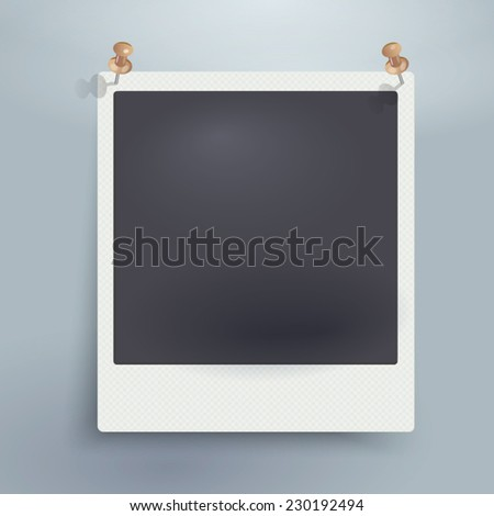 Vector blank retro photo frame with texture and pins. - stock vector