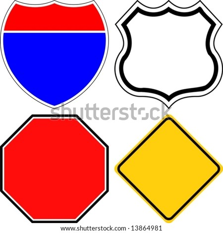 Vector. Blank road signs - stock vector