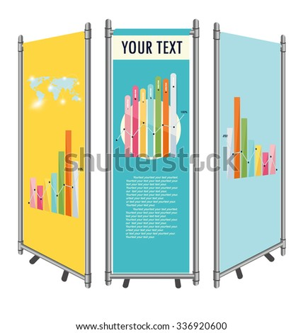 Vector blank roll up banner display template for designers - stock vector