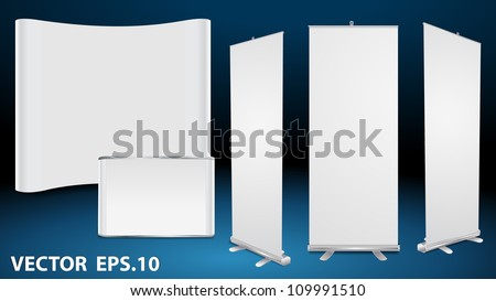 Vector blank roll up banner display, with trade show booth - stock vector