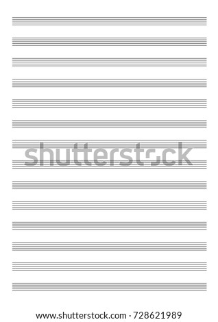 Vector: Blank Sheet Of Music Paper With Empty Staff Lines (portrait)
