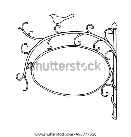 vector blank shop sign vintage vine  hand drawn cute line art illustration - stock vector