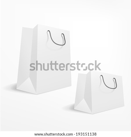 vector blank shopping bag on white background