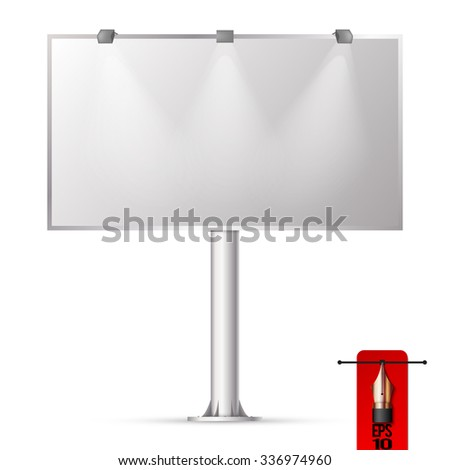 Vector blank street billboard advertising panel with light - stock vector