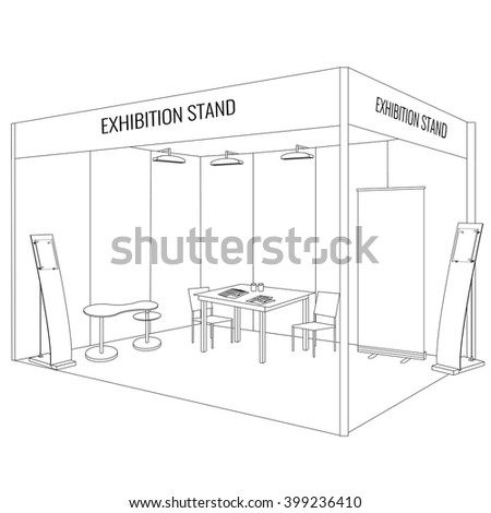 Vector Blank trade exhibition booth stand with table and chair, info board, roll up, flyers and brochures on the table. Display Mock-up. Trendy outline style. Corporate identity - stock vector