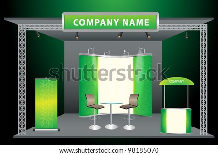 Vector Blank trade exhibition stand with screen, counter, chair, roll-up banner and lights with identity background ready for use.