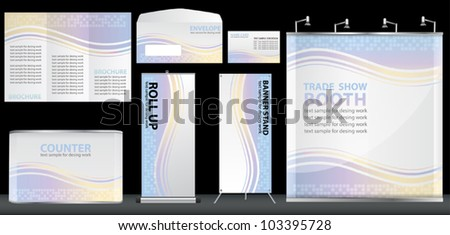 Vector blank trade show booth, With brochure, Envelope, name card, counter and roll up banner stand. identity background design ready for use. - stock vector