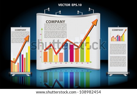 Vector blank trade show booth, with roll up banner and business growth graph identity background ready for use. - stock vector