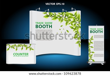 Vector blank trade show booth, with roll up banner and green leaves frame background identity background ready for use. - stock vector