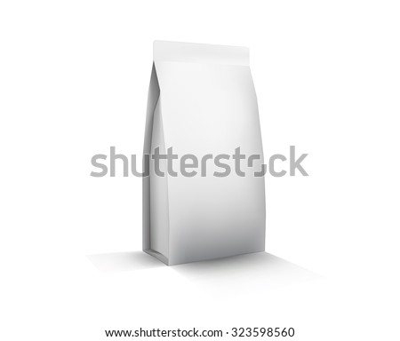Vector Blank White Foil Food Packaging llustration Isolated Mock Up Template Package Ready For Custom Design - stock vector