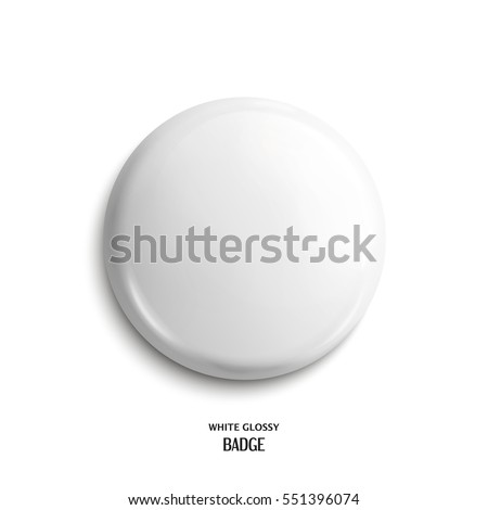 Vector blank white glossy badge or web button.