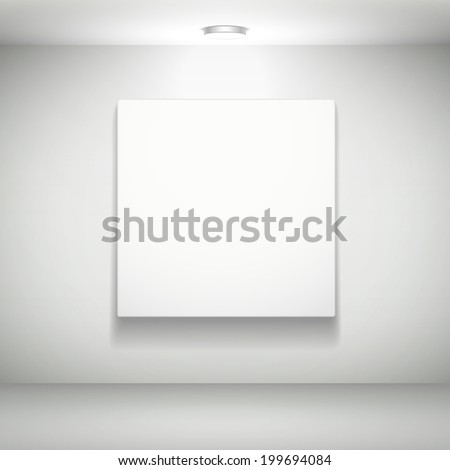 vector blank white picture on white wall - stock vector