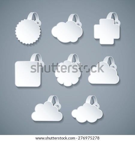 Vector blank white wobbler templates set in 3d style - stock vector