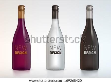 vector blank wine bottles for new design - stock vector