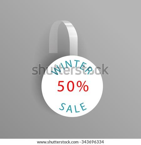 Vector blank wobbler mockup with transparent strip.Template for your hanging shelf tag design.Winter sale design for presentation. - stock vector
