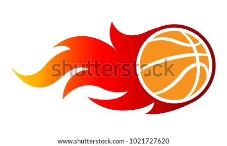 vector blazing basketball ball classic flames stock vector royalty
