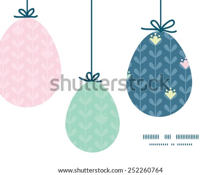 Vector blloming vines stripes hanging Easter eggs ornaments sillhouettes frame card template - stock vector