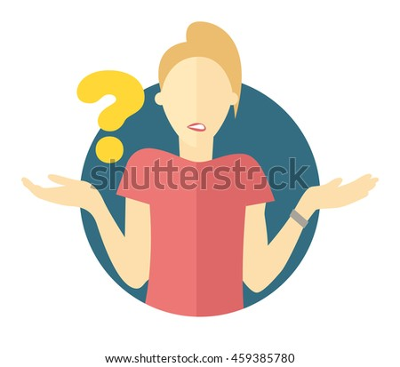 """Vector blonde woman with a question mark. Girl doubts. """"I don't know"""" expression - stock vector"""