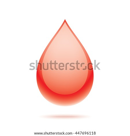 Vector blood drop, isolated on white background. Medical symbol.