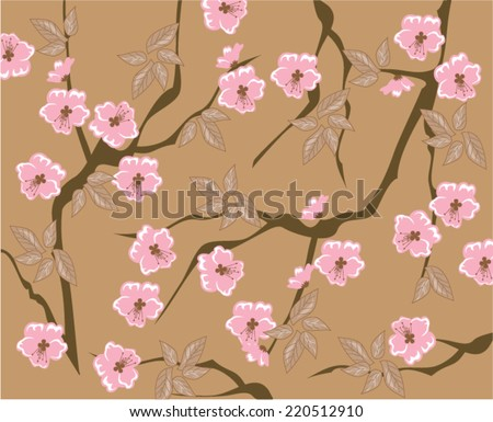 vector blooming cherry background seamless - stock vector