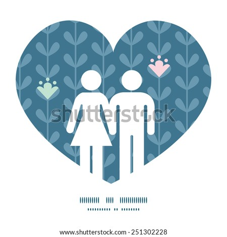 Vector blooming vines stripes couple in love silhouettes frame pattern invitation greeting card template - stock vector
