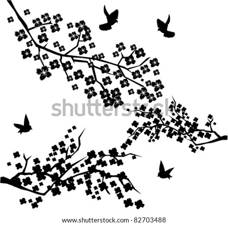 vector blossom branches - stock vector