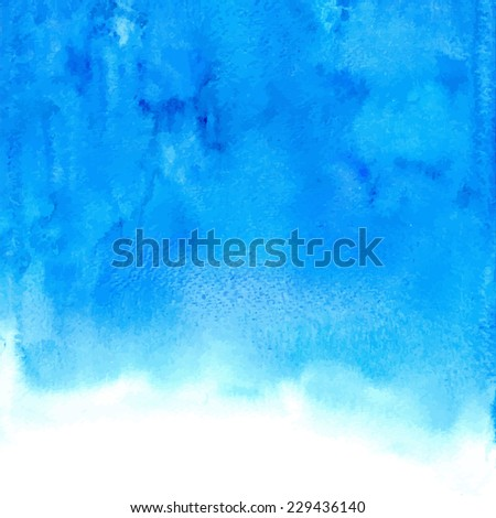 Vector blue abstract hand drawn watercolor background - stock vector
