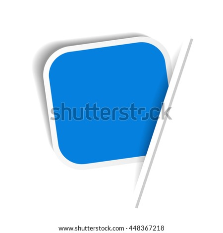 Vector blue advertising label. Squared sticker inserted under the white paper page.