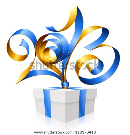 Vector blue and gold ribbon in the shape of 2013 and gift box. Symbol of New Year - stock vector