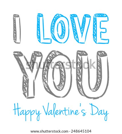 vector blue and gray handwritten valentine greeting on the white background