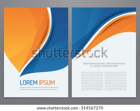 Vector blue and orange business brochure, annual report, flyer, magazine template. Modern corporate design. - stock vector